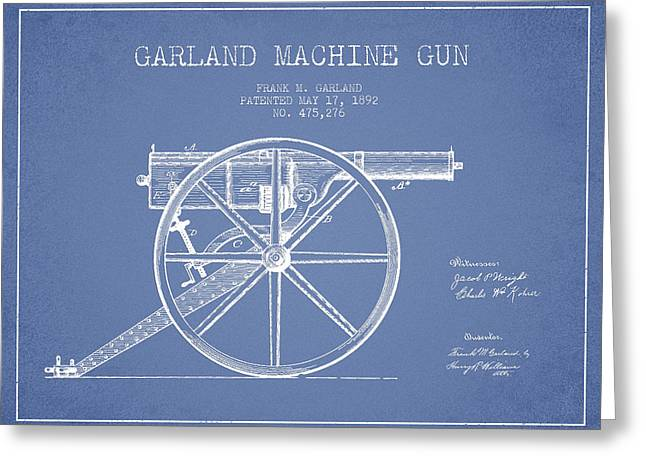 Machine Greeting Cards - Garland Machine Gun Patent Drawing from 1892 - Light Blue Greeting Card by Aged Pixel