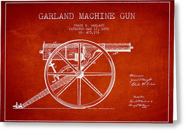 Bass Digital Art Greeting Cards - Garland Machine Gun Patent Drawing from 1892 - Red Greeting Card by Aged Pixel