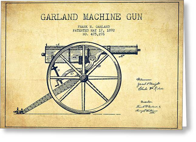 Bass Digital Art Greeting Cards - Garland Machine Gun Patent Drawing from 1892 - Vintage Greeting Card by Aged Pixel