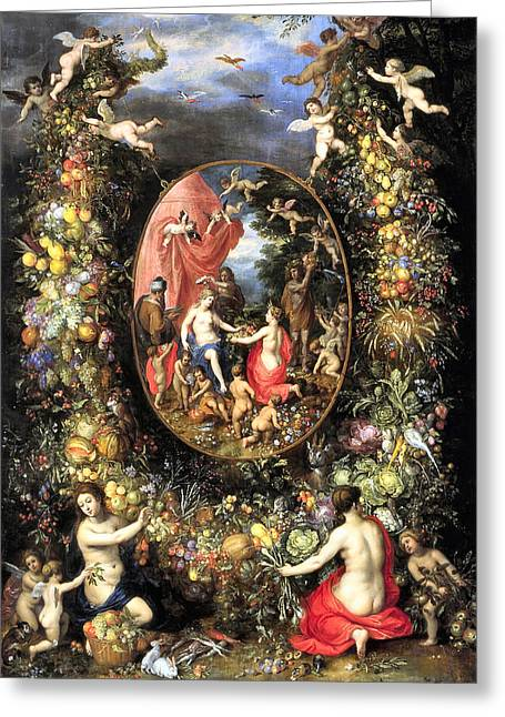 Fruit And Flowers Greeting Cards - Garland of Fruit and Flowers Greeting Card by Jan Brueghel de Oude