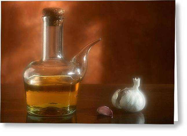 Olive Oil Greeting Cards - Garlic and Olive Oil. Greeting Card by Juan Carlos Ferro Duque