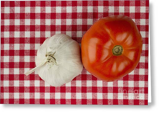 Pungent Greeting Cards - Garlic and tomato Greeting Card by Blink Images