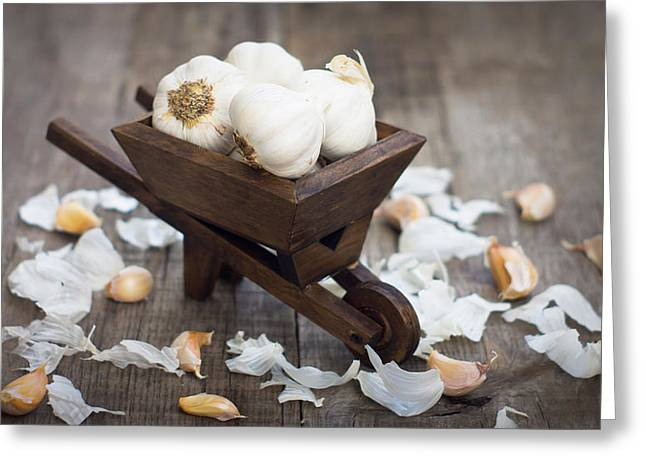 Garlic Cloves In A Miniature Wheelbarrow Greeting Card by Aged Pixel