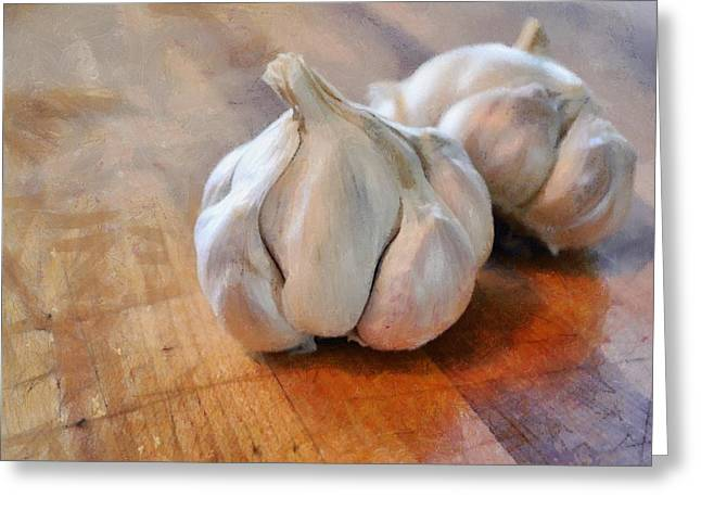Smelly Greeting Cards - Garlic Cloves Greeting Card by Michelle Calkins
