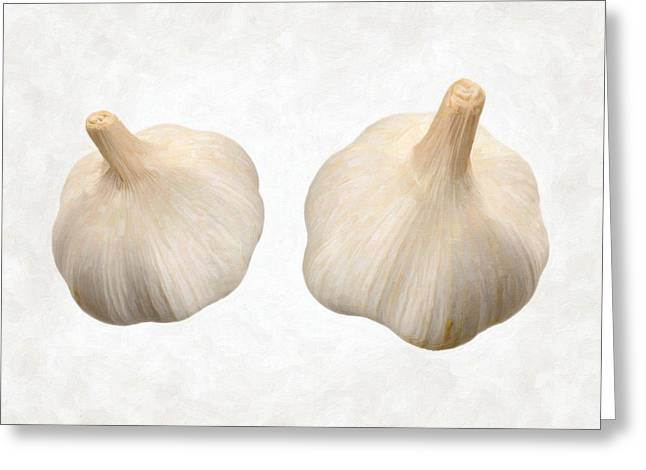 Single Object Paintings Greeting Cards - Garlic Greeting Card by Danny Smythe