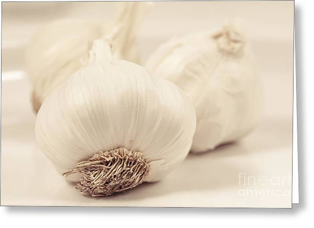 Kitchen Wall Greeting Cards - Garlic Heads Greeting Card by Lucid Mood