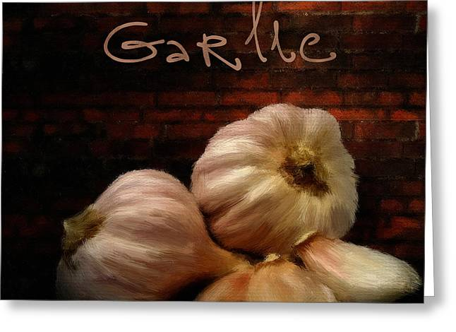 Food Digital Greeting Cards - Garlic II Greeting Card by Lourry Legarde