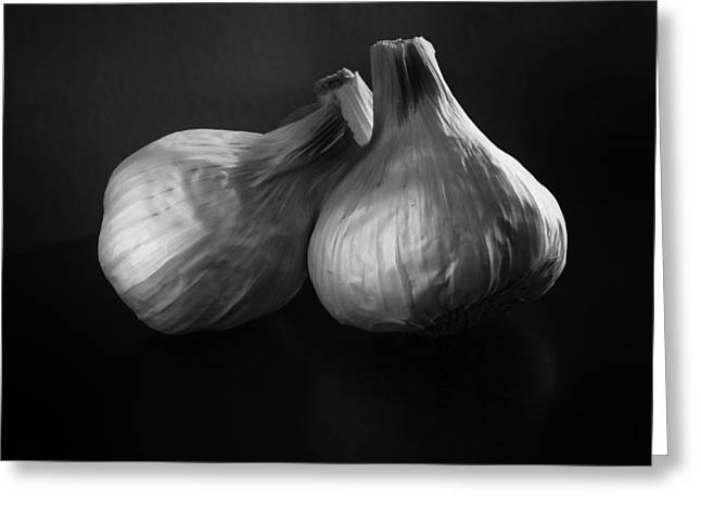 E Black Greeting Cards - Garlic Greeting Card by Jesse Castellano