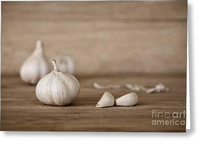 Menu Digital Art Greeting Cards - Garlic Greeting Card by Natalie Kinnear