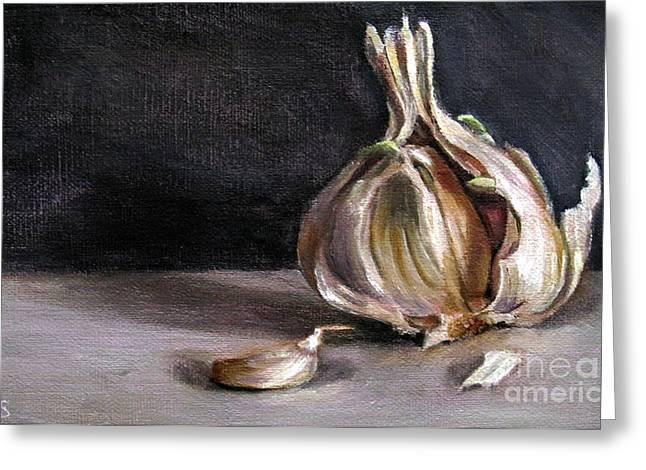 Lebensmittel Greeting Cards - Garlic Greeting Card by Ulrike Miesen-Schuermann