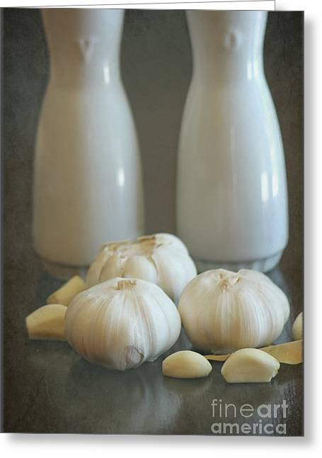 Garlic Vinegar And Oil Greeting Card by Sophie Vigneault