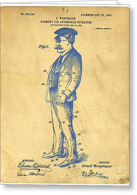 Outfit Drawings Greeting Cards - Garment for Automobile Operators Patent Greeting Card by Edward Fielding