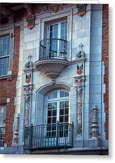 Garrison Hall Window Ut Greeting Card by Joan Carroll