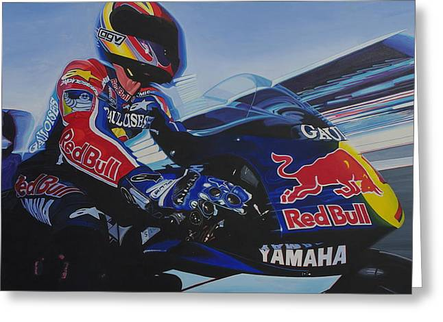 Mccoy Paintings Greeting Cards - Garry McCoy - MotoGP Greeting Card by Jeff Taylor