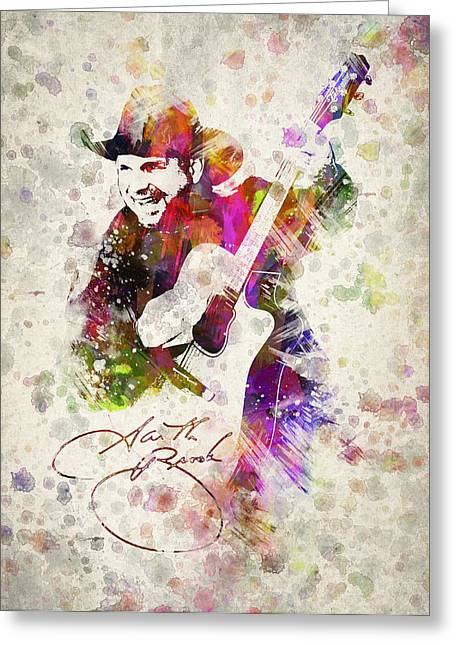 Celeb Greeting Cards - Garth Brooks Greeting Card by Aged Pixel