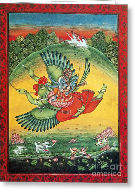Hindu Goddess Photographs Greeting Cards - Garuda, The Vahana Of Lord Vishnu Greeting Card by Photo Researchers