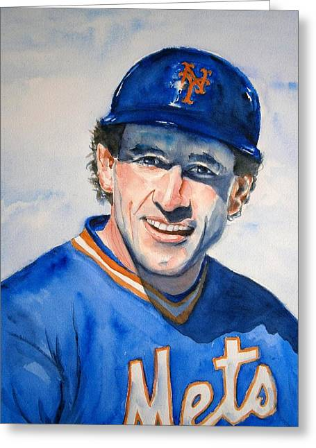 Kids Sports Paintings Greeting Cards - Gary Carter Greeting Card by Brian Degnon