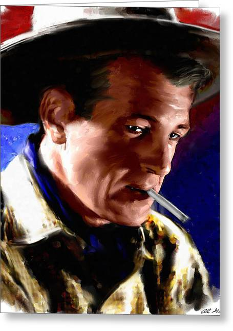 Film Star Greeting Cards - Gary Cooper Greeting Card by Allen Glass