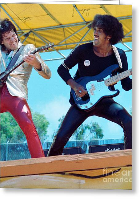 80s Greeting Cards - Gary Moore and Phil Lynott of Thin Lizzy at Day on the Green 4th of July 1979 - 1st Color Unreleased Greeting Card by Daniel Larsen