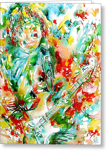 Thin Paintings Greeting Cards - GARY MOORE PLAYING the GUITAR watercolor portrait Greeting Card by Fabrizio Cassetta