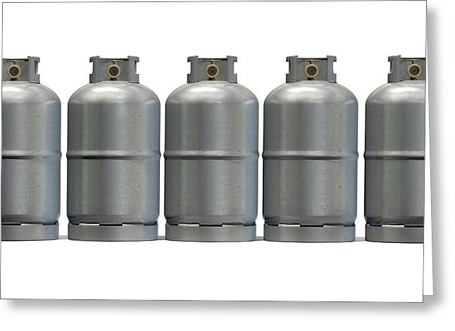 Gas Tank Greeting Cards - Gas Cylinder Row Greeting Card by Allan Swart