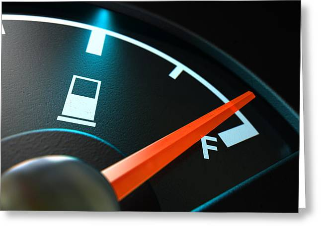 Fuel Gauge Greeting Cards - Gas Gage Illuminated Full Greeting Card by Allan Swart