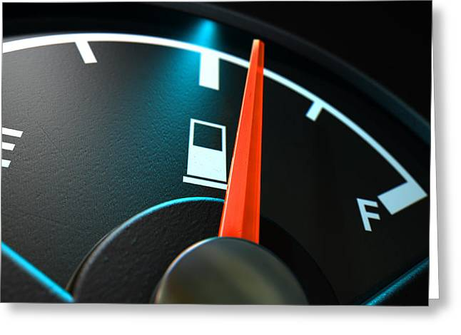 Fuel Gauge Greeting Cards - Gas Gage Illuminated Half Greeting Card by Allan Swart