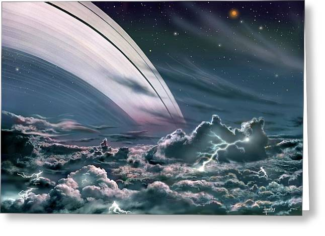 Gas Giant Planet's Rings Greeting Card by David A. Hardy