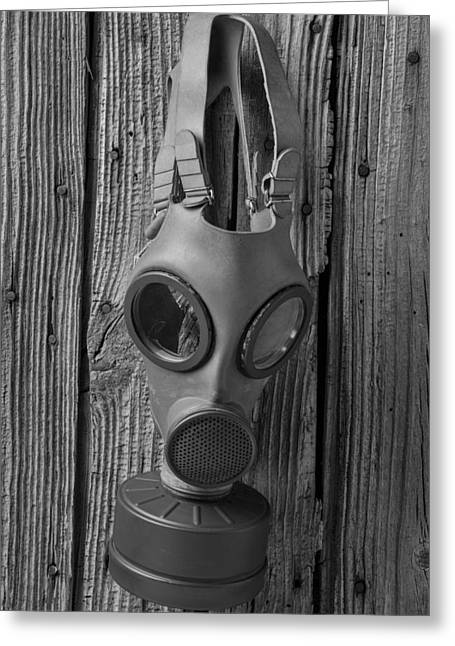 Respirator Greeting Cards - Gas Mask Greeting Card by Garry Gay