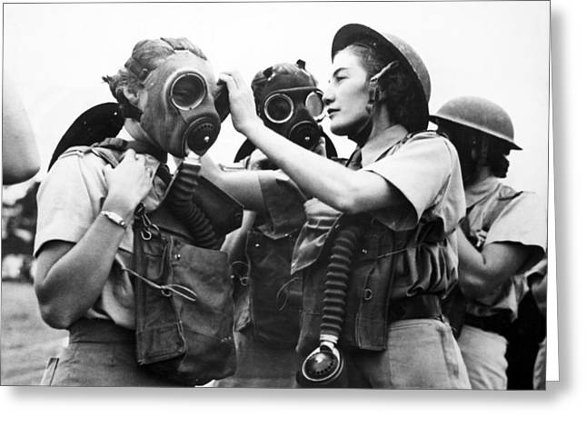 Respirator Greeting Cards - Gas mask training, World War II Greeting Card by Science Photo Library
