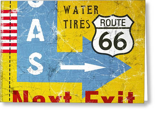 Road Trip Greeting Cards - Gas Next Exit- Route 66 Greeting Card by Linda Woods