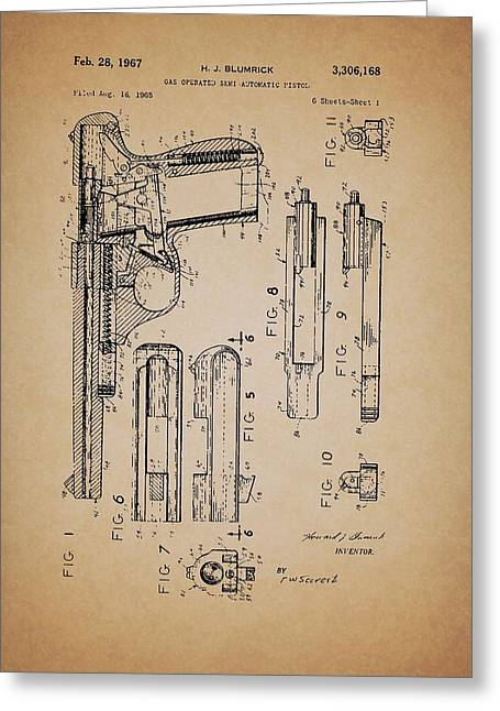 Pistol Drawings Greeting Cards - Gas Operated Semi-Automatic Pistol Greeting Card by Mountain Dreams