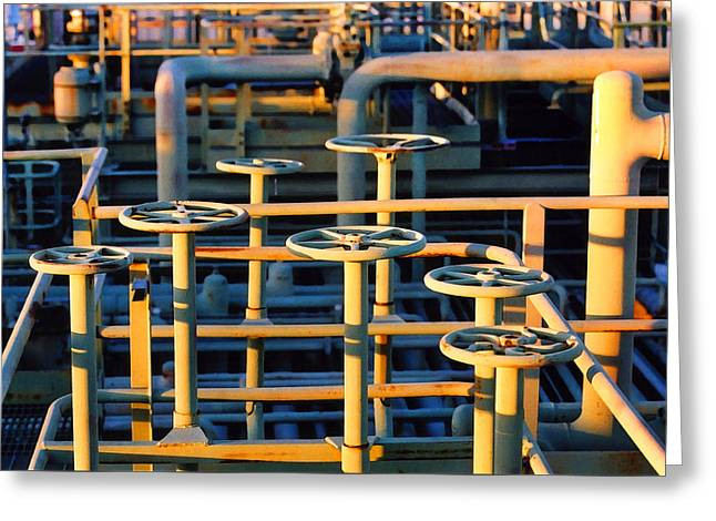 Production Industry Greeting Cards - Gas Plant Valves Greeting Card by Art Block Collections