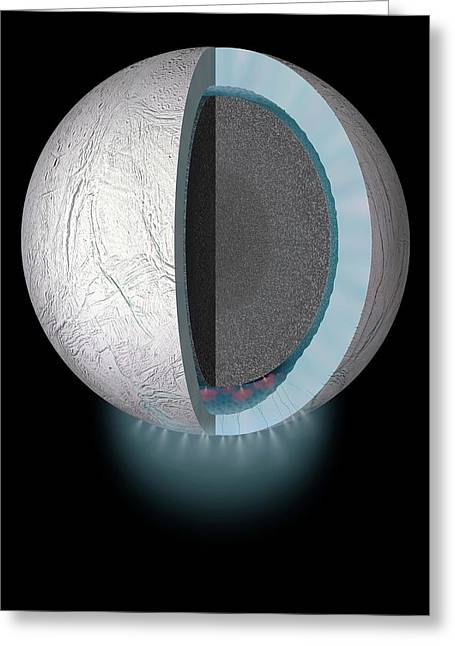 Gas Plumes On Enceladus Greeting Card by Nasa/jhuapl/swri