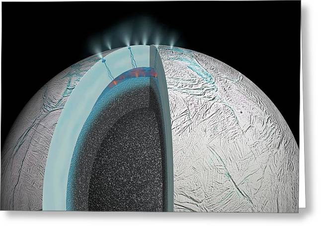 Gas Plumes On Enceladus Greeting Card by Nasa/jpl-caltech