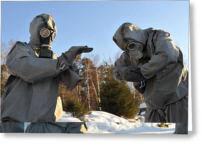 Hazmat Greeting Cards - Gas protection training, Russia Greeting Card by Science Photo Library