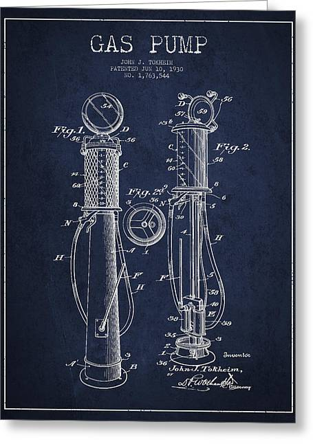 Gas Pumps Greeting Cards - Gas Pump Patent Drawing From 1930 - Navy Blue Greeting Card by Aged Pixel