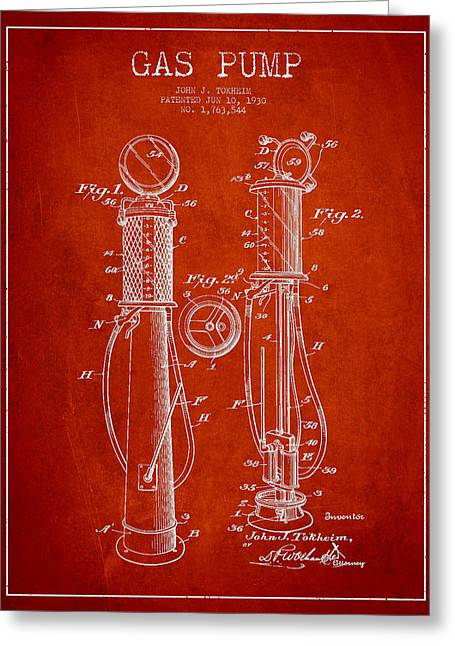 Gas Pumps Greeting Cards - Gas Pump Patent Drawing From 1930 - Red Greeting Card by Aged Pixel