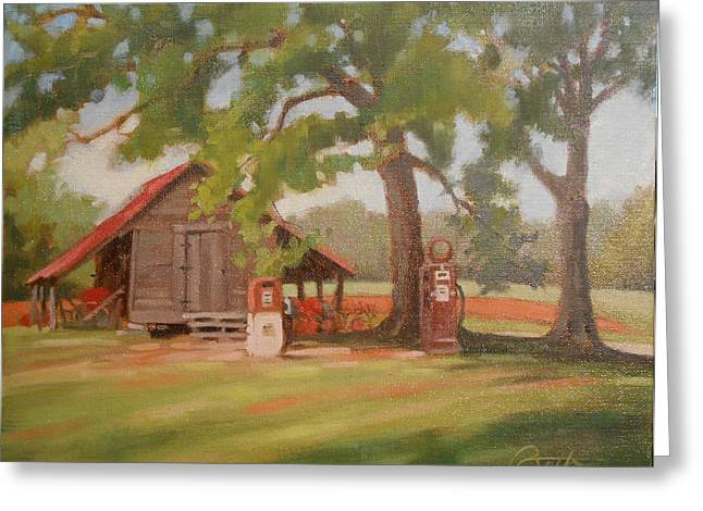 Shed Paintings Greeting Cards - Gas Pumps Greeting Card by Todd Baxter