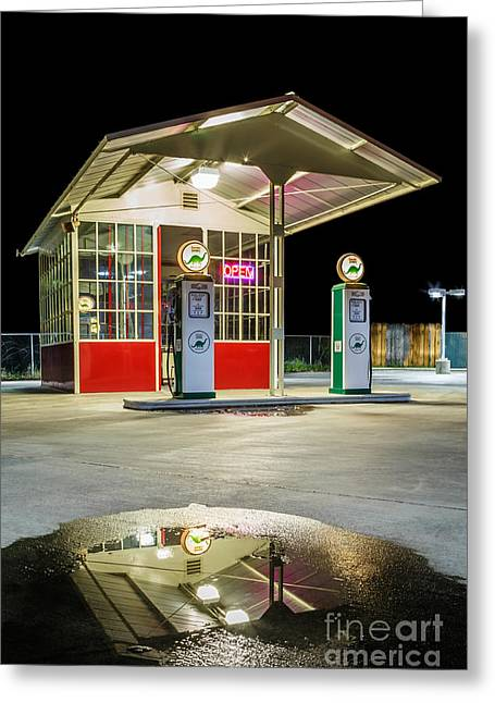 Gas Station Reflection Greeting Card by James Eddy