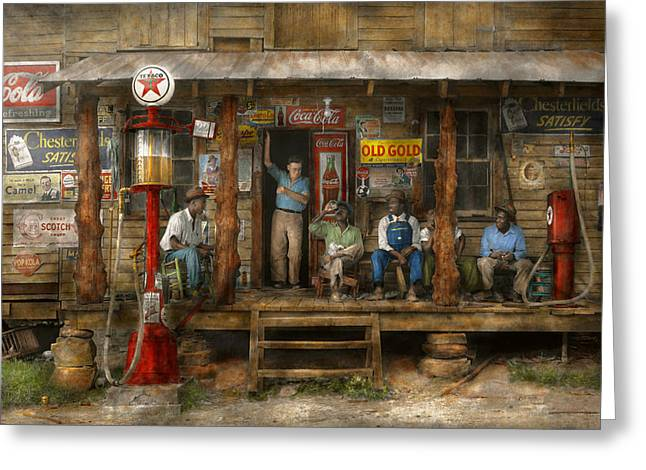 Colorization Greeting Cards - Gas Station - Sunday afternoon - 1939 Greeting Card by Mike Savad