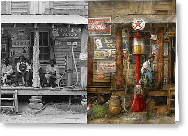African-american Greeting Cards - Gas Station - Sunday afternoon - 1939 - Side by side Greeting Card by Mike Savad