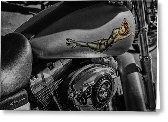 Gas Tank Pin Up Girl Greeting Card by Jeff Swanson