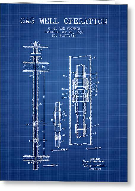 Gass Greeting Cards - Gas Well Operation Patent From 1937 - Blueprint Greeting Card by Aged Pixel