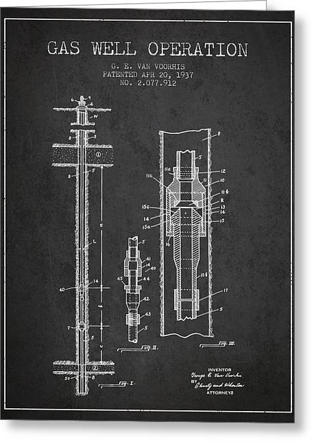 Gass Greeting Cards - Gas Well Operation Patent From 1937 - Charcoal Greeting Card by Aged Pixel
