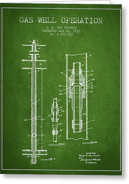 Gass Greeting Cards - Gas Well Operation Patent From 1937 - Green Greeting Card by Aged Pixel