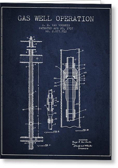 Gass Greeting Cards - Gas Well Operation Patent From 1937 - Navy Blue Greeting Card by Aged Pixel