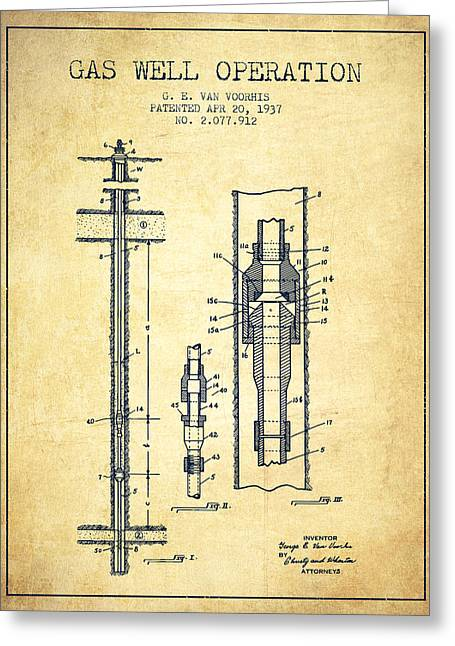 Gass Greeting Cards - Gas Well Operation Patent From 1937 - Vintage Greeting Card by Aged Pixel