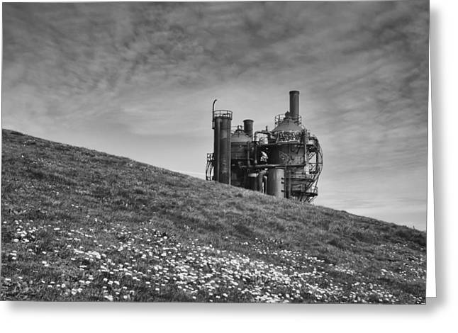 Power Plants Greeting Cards - Gas Works Greeting Card by Kyle Wasielewski