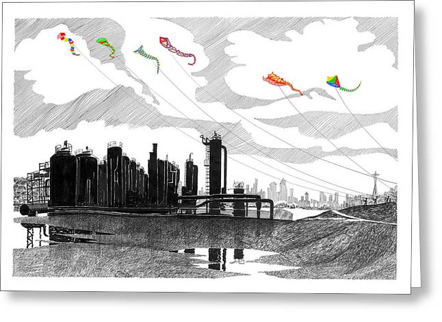 North Shore Drawings Greeting Cards - Gas Works Park Seattle Kite flying  Greeting Card by Jack Pumphrey